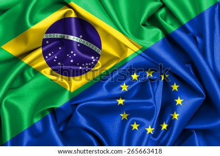 Waving flag of EU and Brazil