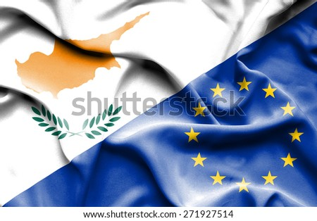 Waving flag of European Union and Cyprus - stock photo