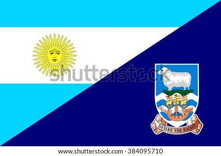 Waving flag of Falkland Islands and Argentina