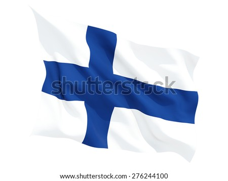 Waving flag of finland isolated on white - stock photo
