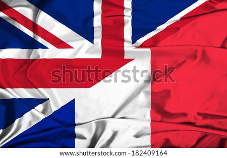 Waving flag of France and UK