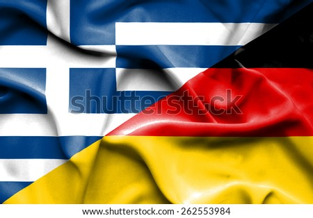 Waving flag of Germany and Greece - stock photo