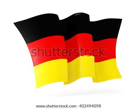 Waving flag of germany isolated on white. 3D illustration - stock photo