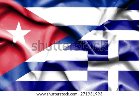 Waving flag of Greece and Cuba