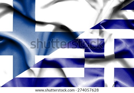 Waving flag of Greece and Finland