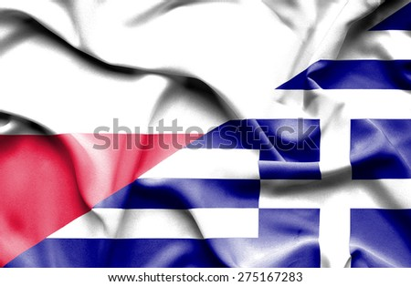 Waving flag of Greece and Poland