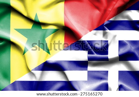 Waving flag of Greece and Senegal