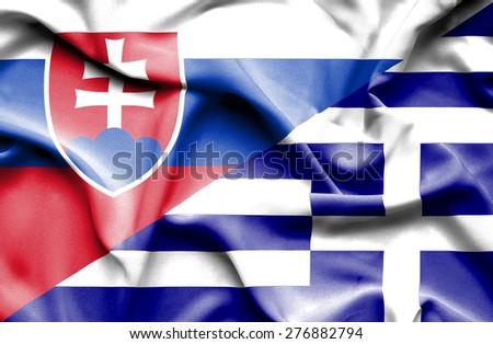 Waving flag of Greece and Slovak - stock photo