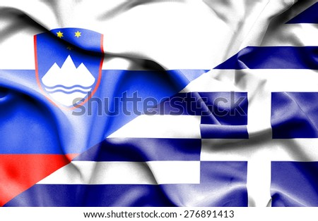 Waving flag of Greece and Slovenia
