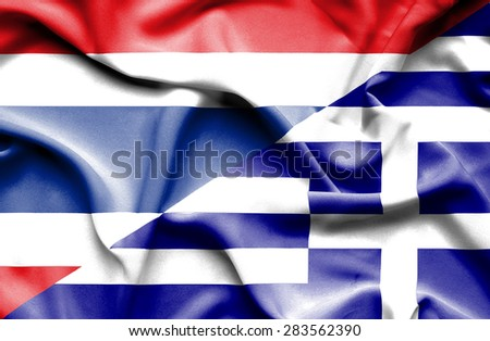 Waving flag of Greece and Thailand