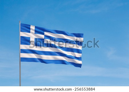 Waving flag of Greece on a sky background - stock photo