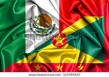 Waving flag of Grenada and Mexico