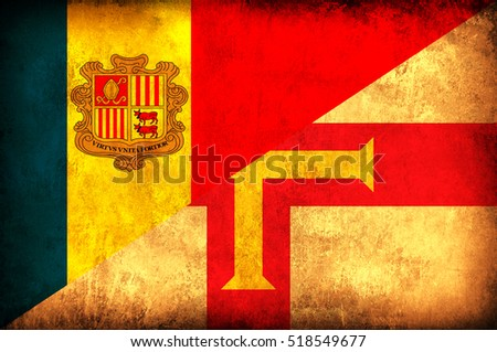 Waving flag of Guernsey and Andora