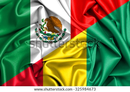 Waving flag of Guinea and Mexico