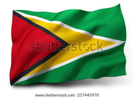 Waving flag of Guyana isolated on white background