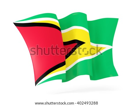 Waving flag of guyana isolated on white. 3D illustration - stock photo