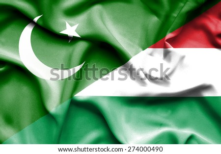 Waving flag of Hungary and Pakistan