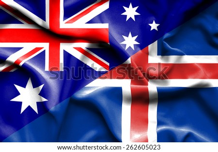 Waving flag of Iceland and Australia