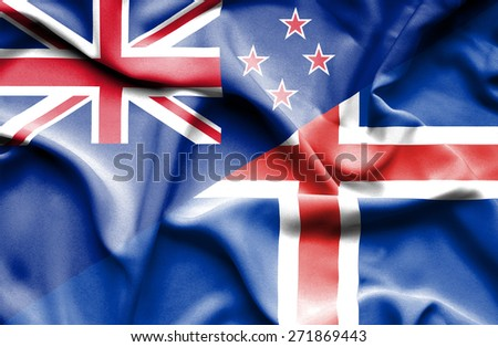 Waving flag of Iceland and New Zealand