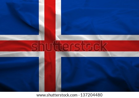 Waving flag of Iceland. Flag has real fabric texture.