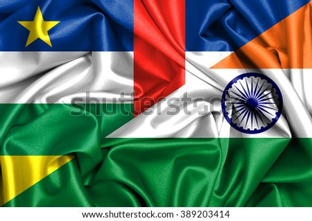 Waving flag of India and Central African Republic