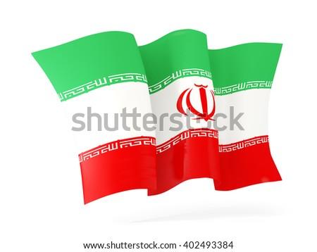Waving flag of iran isolated on white. 3D illustration - stock photo