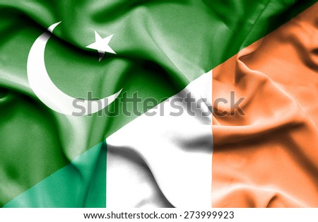 Waving flag of Ireland and Pakistan