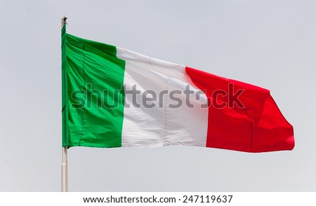Waving Flag of Italy against the cloudy sky