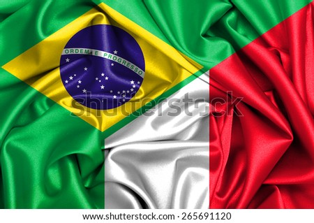 Waving flag of Italy and Brazil