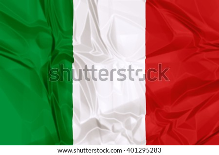 Waving flag of Italy, green white and red colors. 3d background.