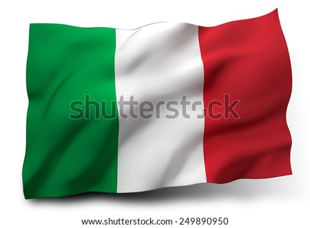 Waving flag of Italy isolated on white background - stock photo