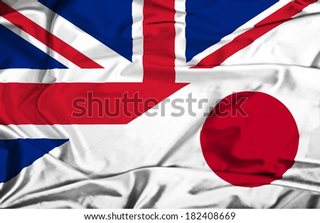 Waving flag of Japan and UK