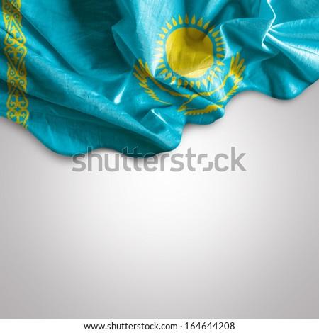 Waving flag of Kazakhstan, Africa - stock photo