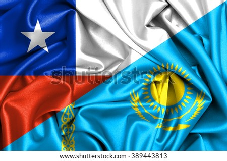Waving flag of Kazakhstan and Chile