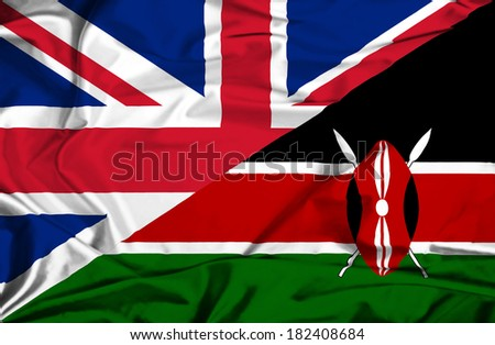 Waving flag of Kenya and UK - stock photo