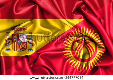 Waving flag of Kyrgyzstan and Spain - stock photo
