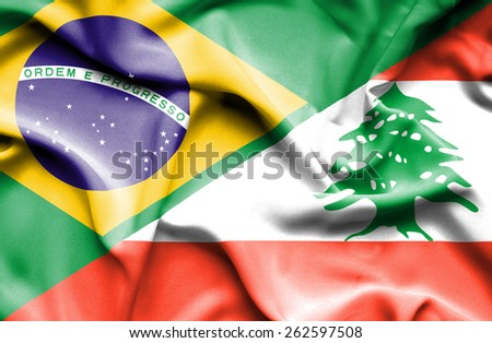Waving flag of Lebanon and Brazil - stock photo