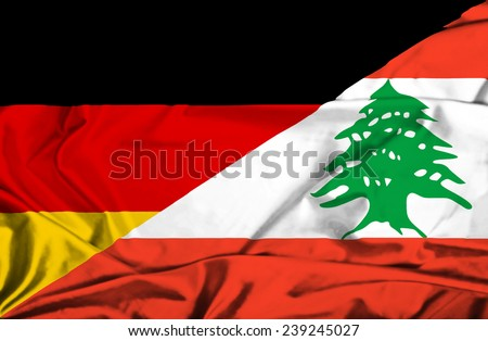 Waving flag of Lebanon and Germany