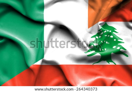 Waving flag of Lebanon and Ireland