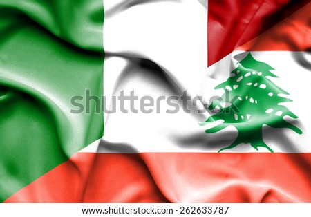 Waving flag of Lebanon and Italy