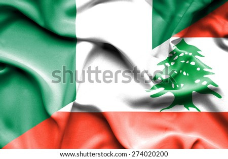 Waving flag of Lebanon and Nigeria