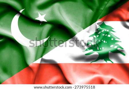 Waving flag of Lebanon and Pakistan