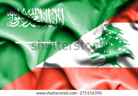 Waving flag of Lebanon and Saudi Arabia