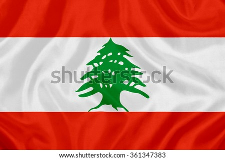 waving flag of Lebanon on silk material