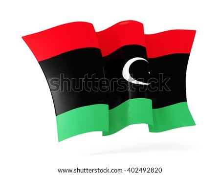 Waving flag of libya isolated on white. 3D illustration - stock photo