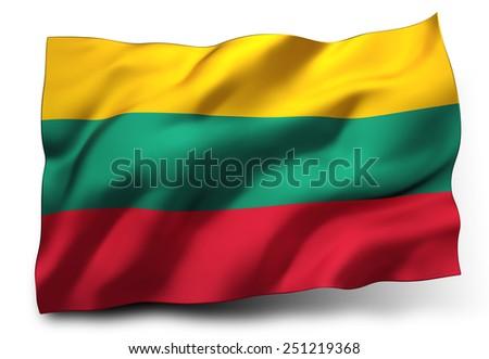 Waving flag of Lithuania isolated on white background - stock photo
