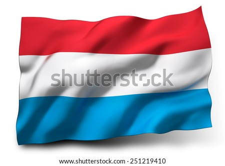 Waving flag of Luxembourg isolated on white background - stock photo