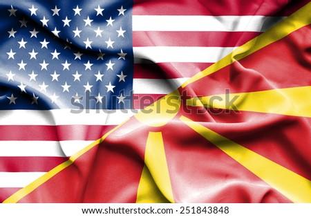 Waving flag of Macedonia and USA - stock photo