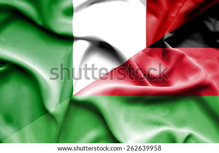 Waving flag of Malawi and Italy