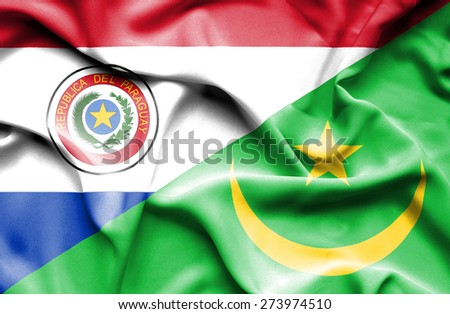 Waving flag of Mauritania and Paraguay